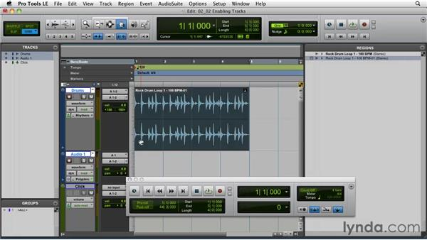 Enabling tracks for Elastic Audio: Pro Tools Projects: Time Manipulation with Elastic Audio