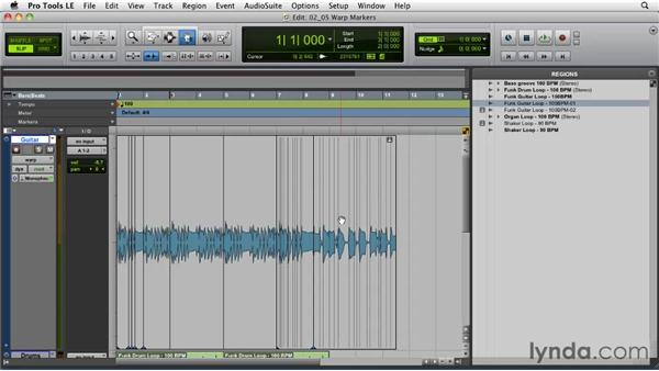 Using warp markers to manipulate timing: Pro Tools Projects: Time Manipulation with Elastic Audio