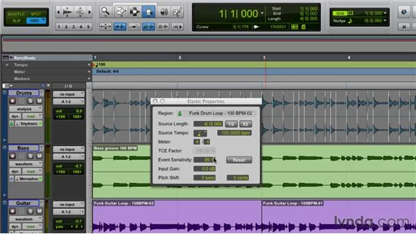 Getting inside the Elastic Properties window: Pro Tools Projects: Time Manipulation with Elastic Audio