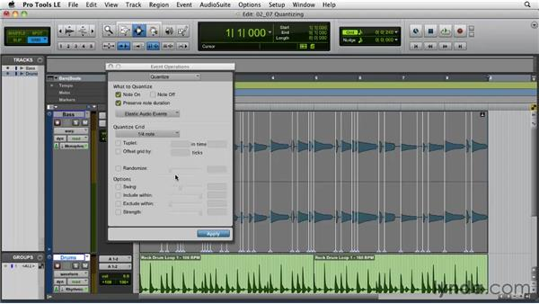 Quantizing audio: Pro Tools Projects: Time Manipulation with Elastic Audio