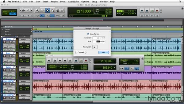 Changing tempo: Pro Tools Projects: Time Manipulation with Elastic Audio