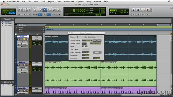 Transposing with Elastic Pitch: Pro Tools Projects: Time Manipulation with Elastic Audio