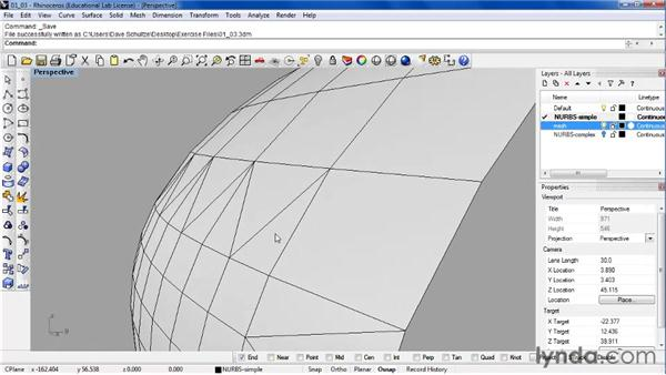 Comparing isocurve surfaces and mesh surfaces: Rhino 4 Essential Training