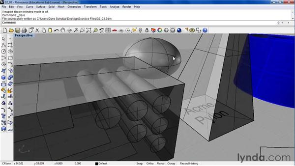 Changing the way a model is viewed using shading modes: Rhino 4 Essential Training