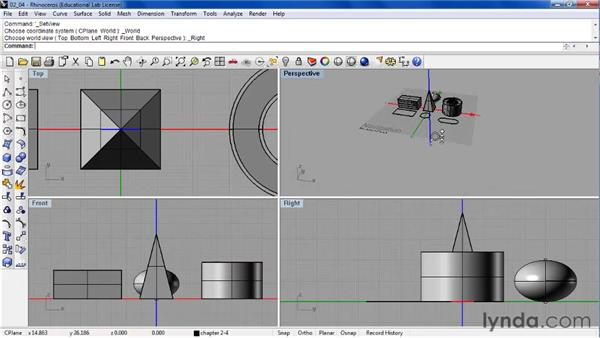 Navigating the viewport with pan, zoom, rotate, and reset controls: Rhino 4 Essential Training