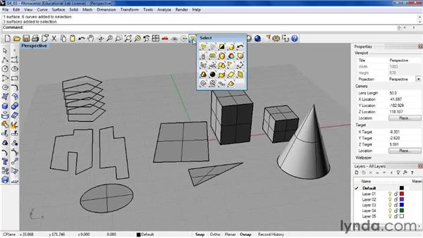 Selecting objects: Rhino 4 Essential Training
