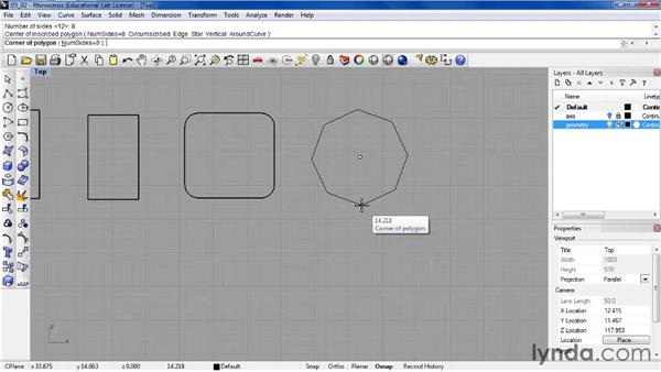 Building rectangles and polygons: Rhino 4 Essential Training