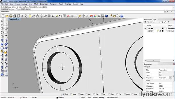 Extruding surfaces to create features in a model: Rhino 4 Essential Training