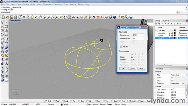 Creating complex surface shapes using Network Surface: Rhino 4 Essential Training