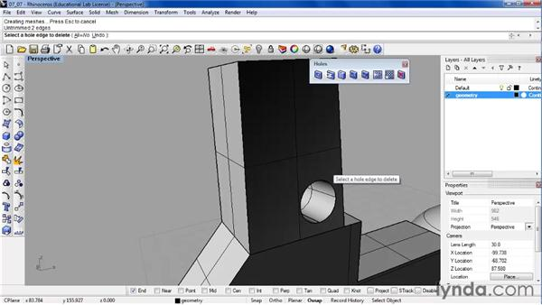Creating and transforming holes in solids: Rhino 4 Essential Training