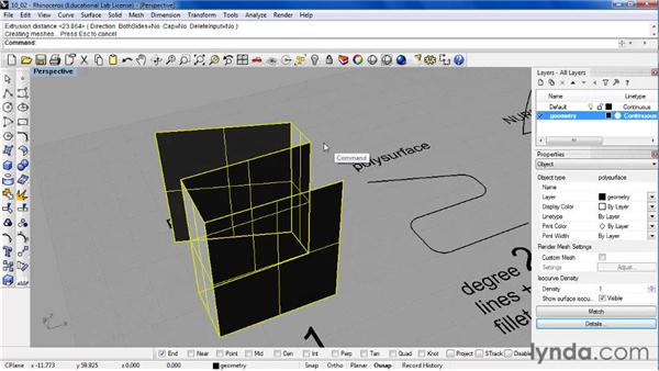 Defining degrees of curve and surfaces: Rhino 4 Essential Training
