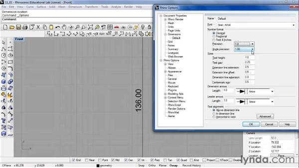 Measuring and labeling values on a model using dimensioning: Rhino 4 Essential Training