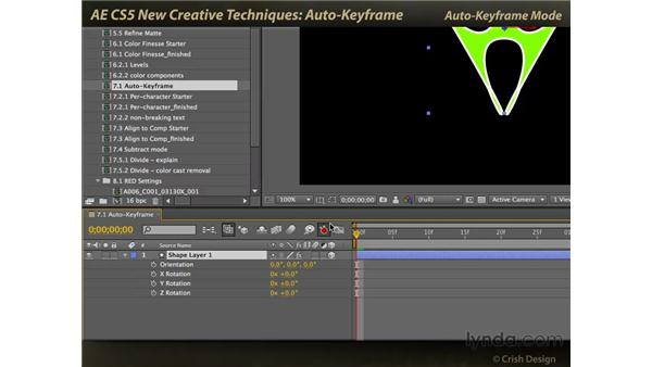 Auto-keyframe mode: After Effects CS5 New Creative Techniques