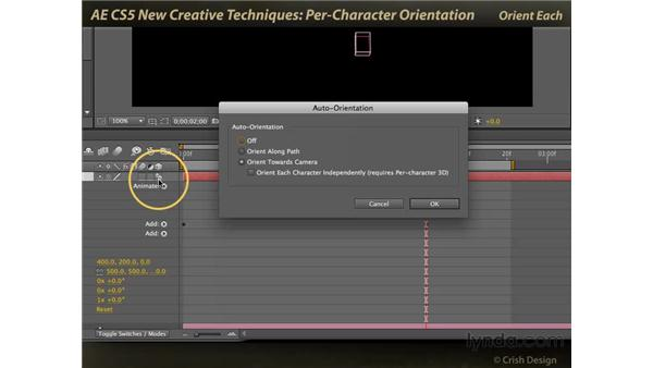 Per-character orientation: After Effects CS5 New Creative Techniques