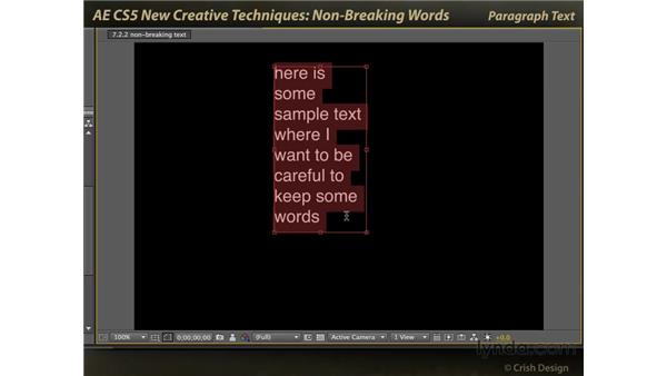 Non-breaking words: After Effects CS5 New Creative Techniques