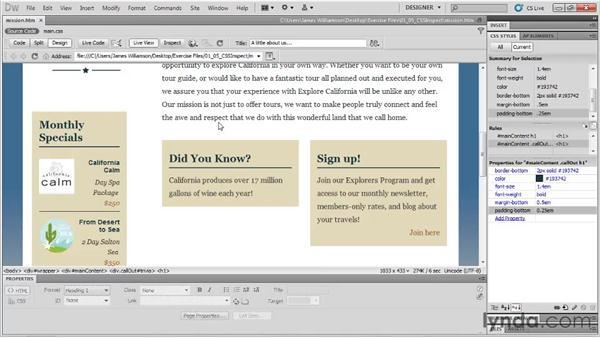 CSS inspect: Dreamweaver CS5 New Features