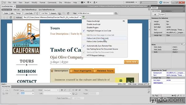 Live changes and live view navigation: Dreamweaver CS5 New Features