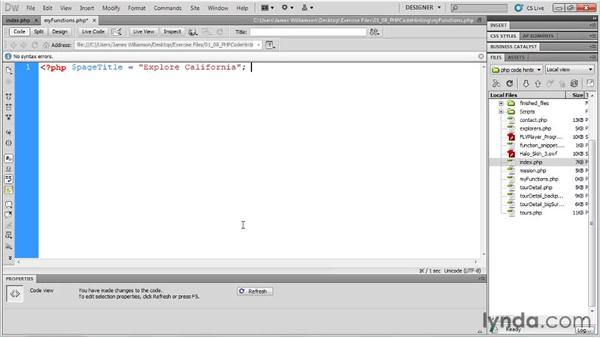 PHP code hinting: Dreamweaver CS5 New Features
