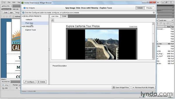 Using the Widget Browser: Dreamweaver CS5 New Features