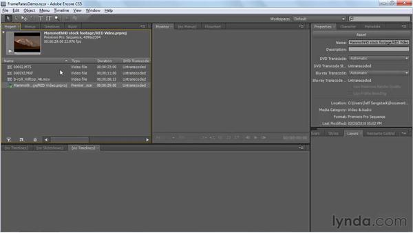 Synchronizing timelines with assets' original frame rates: Encore CS5 New Features