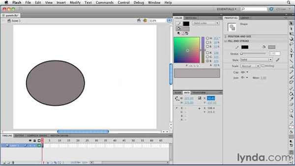 Looking at new features in the Info and Color panels: Flash Professional CS5 New Features