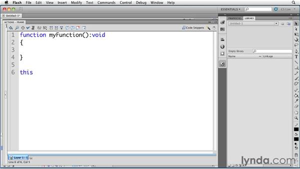 Viewing enhanced code hinting in the Actions panel: Flash Professional CS5 New Features