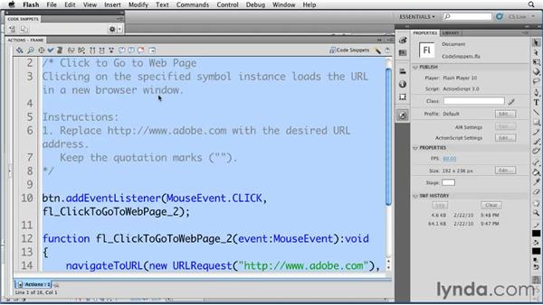 Working with code snippets: Flash Professional CS5 New Features