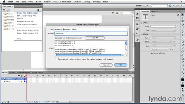 Creating code snippets: Flash Professional CS5 New Features