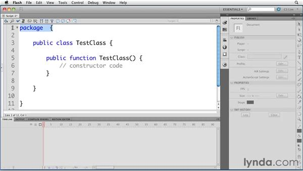 Creating new ActionScript files and classes: Flash Professional CS5 New Features