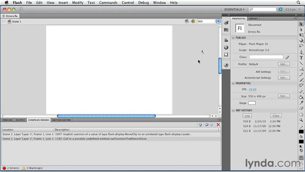 Viewing improvements to compiler error handling: Flash Professional CS5 New Features