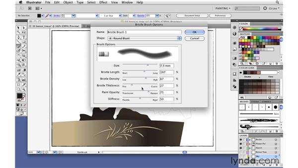 Simulating real brush strokes with the Bristle brush: Illustrator CS5 New Features