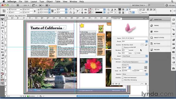 Controlling animations with events and actions: InDesign CS5 New Features