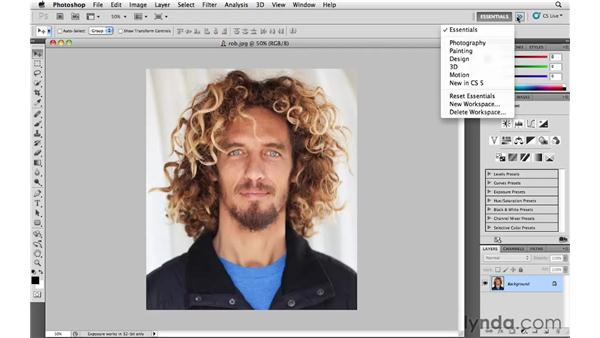Selecting and modifying a Photoshop workspace: Photoshop and Bridge CS5 for Photographers New Features