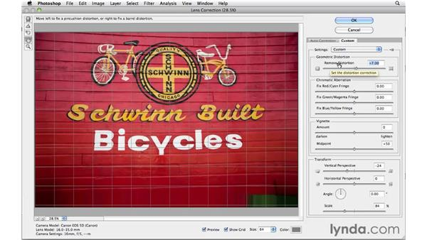 Working with the custom lens correction controls: Photoshop and Bridge CS5 for Photographers New Features
