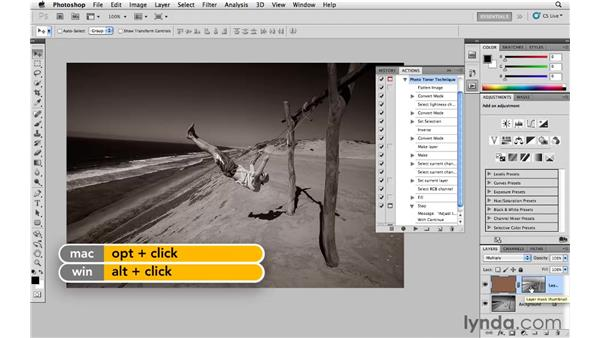 Changing a photograph to black and white using the LAB action: Photoshop and Bridge CS5 for Photographers New Features