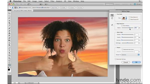 Using improved selecting and masking: Photoshop CS5 New Features