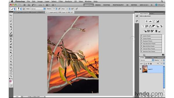 Using the workspace changes: Photoshop CS5 New Features