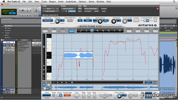 Asserting total control with lines and pitch curves: Pro Tools Projects: Pitch Correction with Antares Auto-Tune Evo