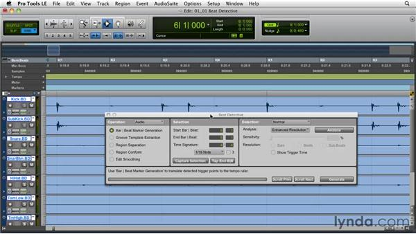 Understanding Beat Detective: Pro Tools Projects: Editing Drums Using Beat Detective and Sound Replacer