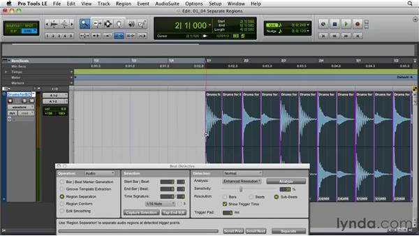Separating regions: Pro Tools Projects: Editing Drums Using Beat Detective and Sound Replacer