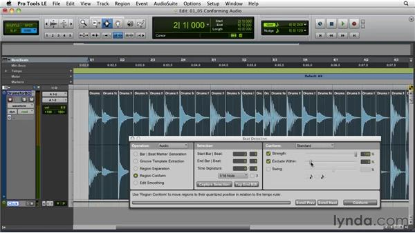 Conforming and quantizing audio: Pro Tools Projects: Editing Drums Using Beat Detective and Sound Replacer
