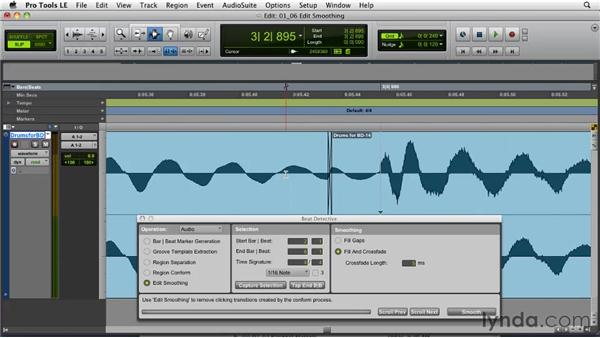 Cleaning up your edits: Pro Tools Projects: Editing Drums Using Beat Detective and Sound Replacer