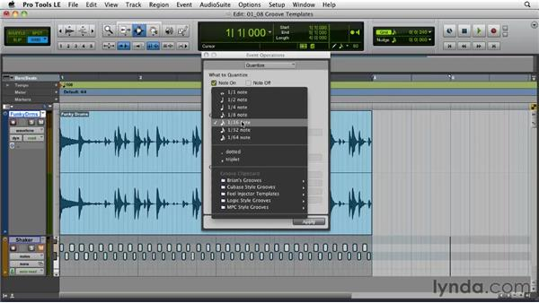 Groove template extraction: Pro Tools Projects: Editing Drums Using Beat Detective and Sound Replacer