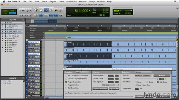 Beat Detective strategies: Multi-track drums: Pro Tools Projects: Editing Drums Using Beat Detective and Sound Replacer