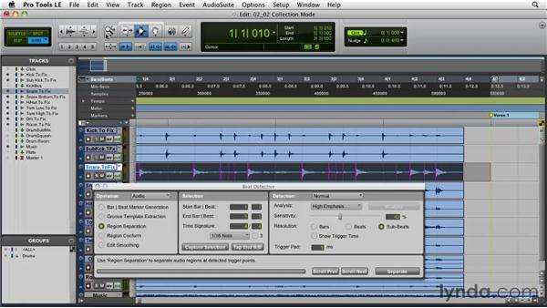 Beat Detective strategies: Collection mode: Pro Tools Projects: Editing Drums Using Beat Detective and Sound Replacer