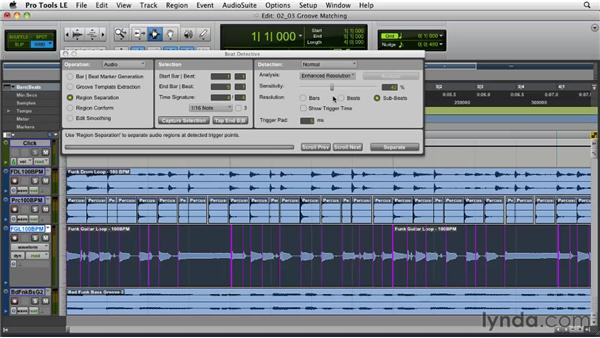 Beat Detective strategies: Groove matching: Pro Tools Projects: Editing Drums Using Beat Detective and Sound Replacer