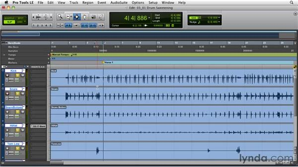 Introduction to drum sweetening: The why and how: Pro Tools Projects: Editing Drums Using Beat Detective and Sound Replacer