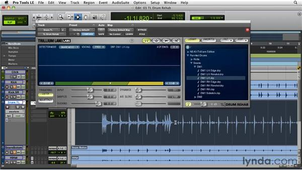 Using real-time sample triggers: TL Drum Rehab: Pro Tools Projects: Editing Drums Using Beat Detective and Sound Replacer