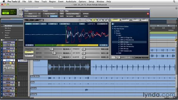 Using TL Drum Rehab: Advanced functions: Pro Tools Projects: Editing Drums Using Beat Detective and Sound Replacer