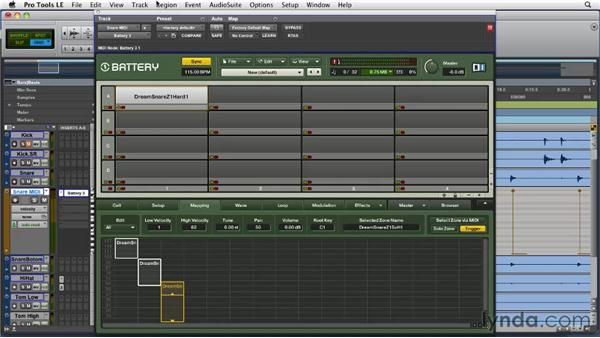 Using virtual instruments to trigger and affect drum samples: Pro Tools Projects: Editing Drums Using Beat Detective and Sound Replacer